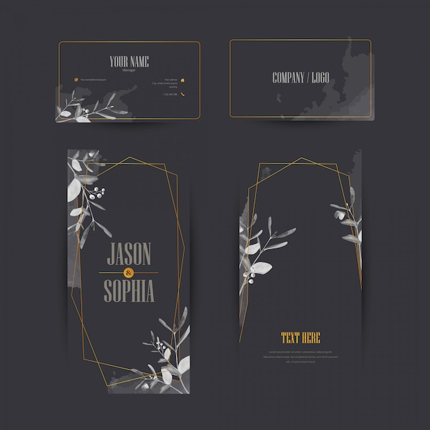 Elegantes schwarzes und goldaquarell-fahnenset Premium Vektoren