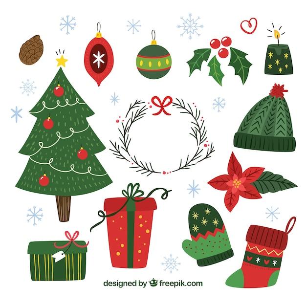 Elegantes set von weihnachtselementen Kostenlosen Vektoren
