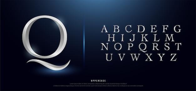 Elegantes silber metall chrom großbuchstaben alphabet schriftart Premium Vektoren