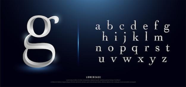 Elegantes silber metall chrom kleinbuchstaben schriftart Premium Vektoren