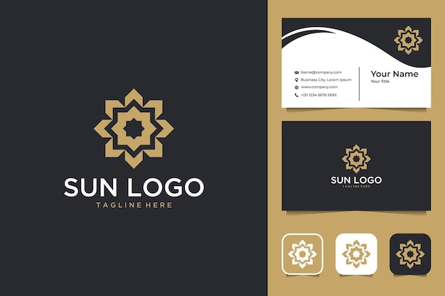 Elegantes sonnengeometrie-logo-design und visitenkarte Premium Vektoren