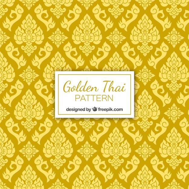 Elegantes thailändisches muster mit goldener art Kostenlosen Vektoren