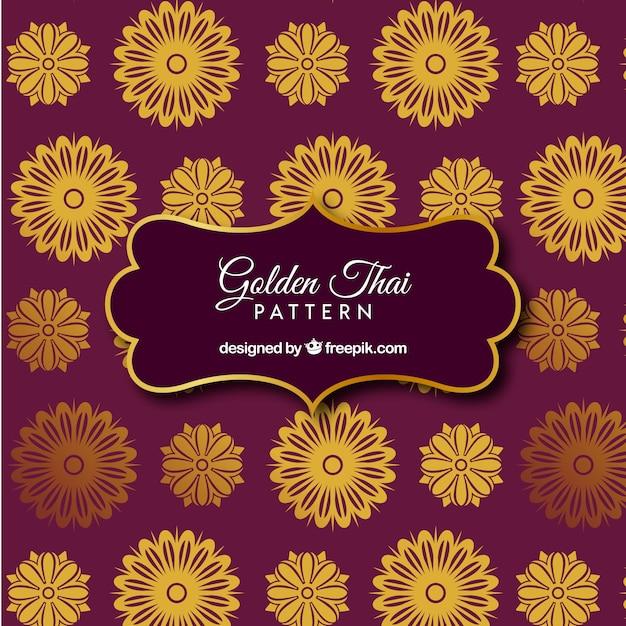 Elegantes thailändisches muster mit goldener art Premium Vektoren