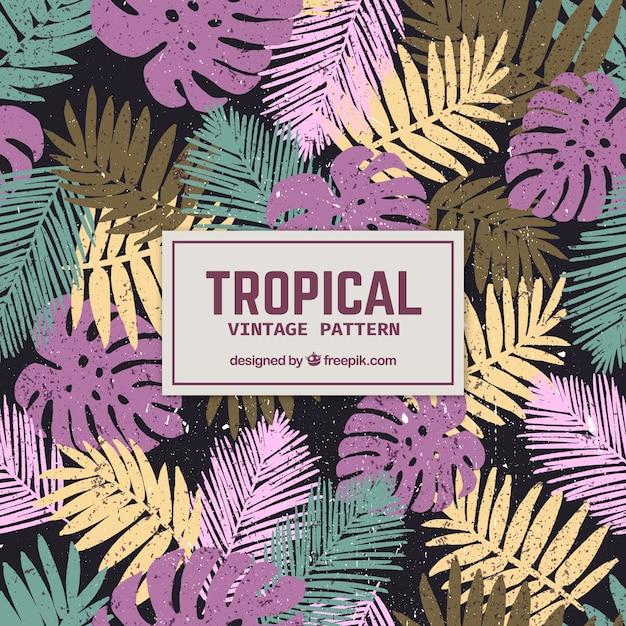 Elegantes tropisches muster mit weinleseart Kostenlosen Vektoren