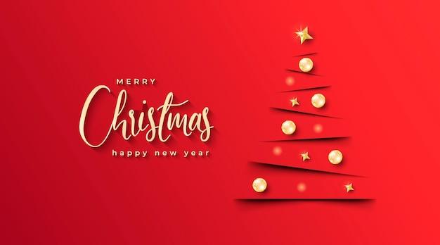 Elegantes weihnachtsbanner mit minimalistischem weihnachtsbaum und rotem hintergrund Kostenlosen Vektoren