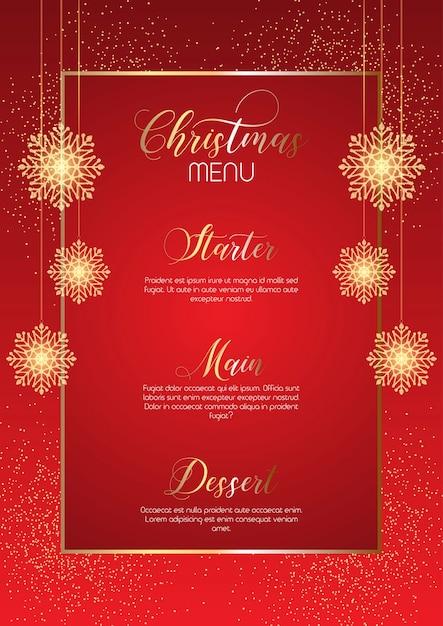 Elegantes weihnachtsmenü-design mit glitzernden schneeflocken Kostenlosen Vektoren
