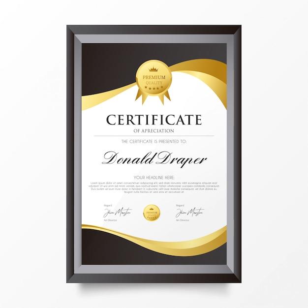 Elegantes zertifikat der abschreibungs-schablone Kostenlosen Vektoren