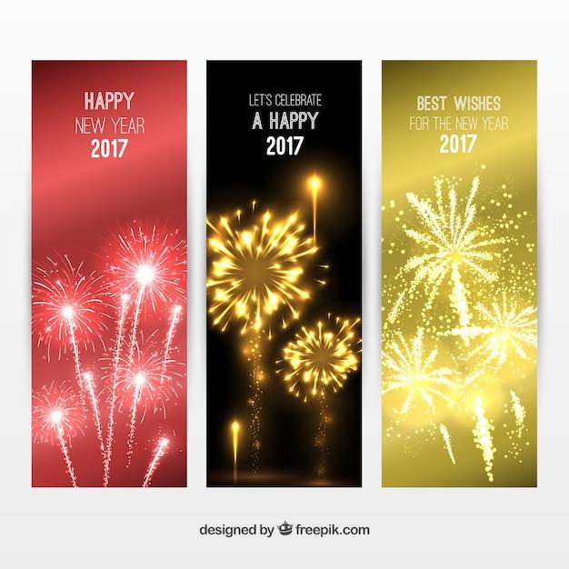 Elegants Neujahr Banner packen Premium Vektoren