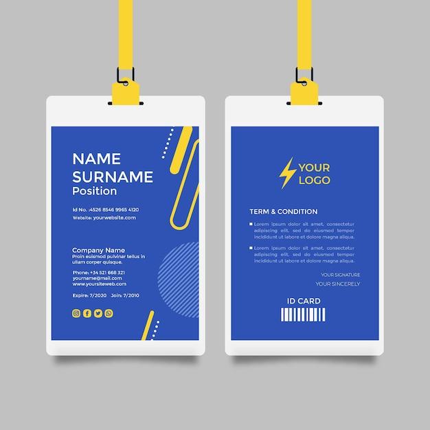 Elektriker id-karte vorlage Premium Vektoren