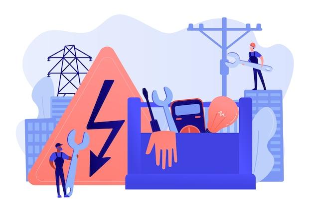 Elektriker ingenieur, techniker mit schraubenschlüssel Kostenlosen Vektoren