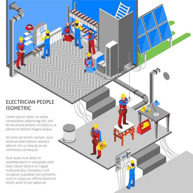 Elektriker isometrische zusammensetzung Kostenlosen Vektoren