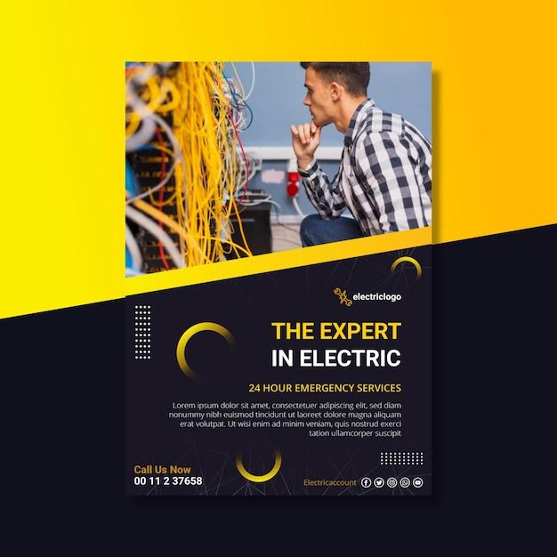 Elektriker mann poster vorlage Kostenlosen Vektoren