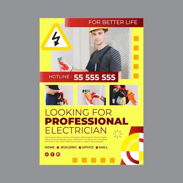Elektriker-plakatschablone Kostenlosen Vektoren