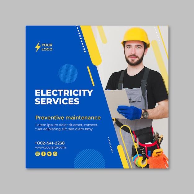 Elektriker quadratische flyer vorlage Premium Vektoren
