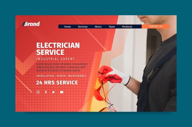 Elektriker service landing page vorlage Kostenlosen Vektoren