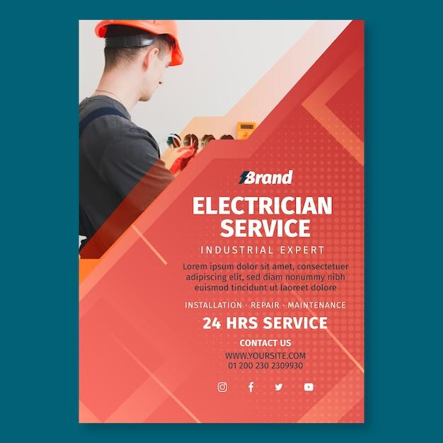 Elektriker service poster druckvorlage Kostenlosen Vektoren