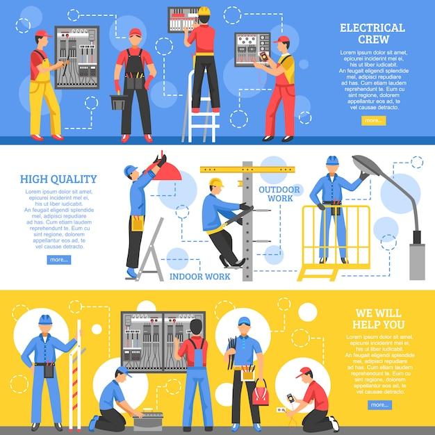 Elektrische arbeiten horizontale banner Kostenlosen Vektoren
