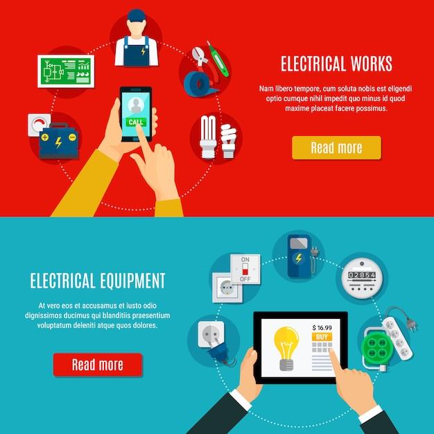Elektrische ausrüstung und elektriker horizontal banner Kostenlosen Vektoren