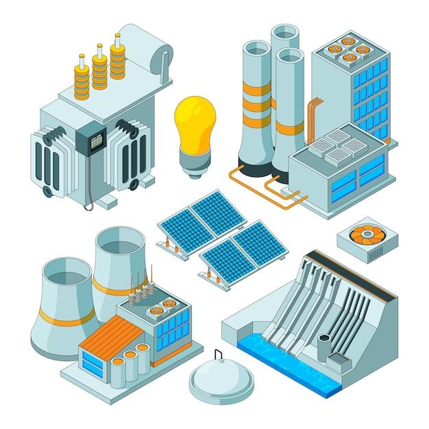 Elektrische ausrüstung, watt-elektrizitätsbeleuchtungsgeneratoren isometrisch lokalisiert Premium Vektoren