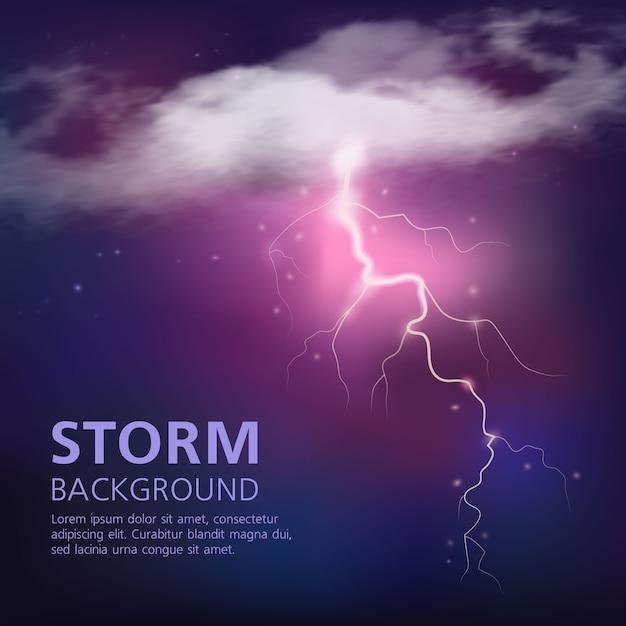 Elektrische entladung im himmel mit blitz aus halbtransparenten wolken auf lila blauer farbvektorillustration Kostenlosen Vektoren