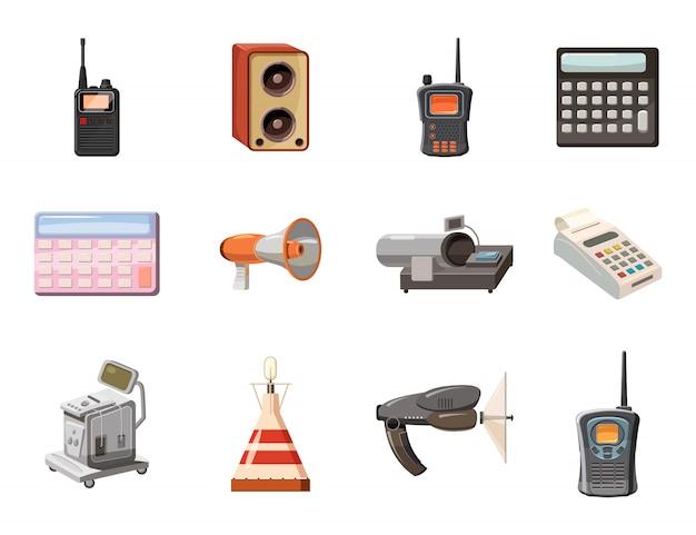 Elektrische geräteobjekte festgelegt. karikatursatz des elektrischen geräts Premium Vektoren