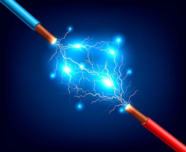 Elektrische kabel lightning realistic composition Kostenlosen Vektoren