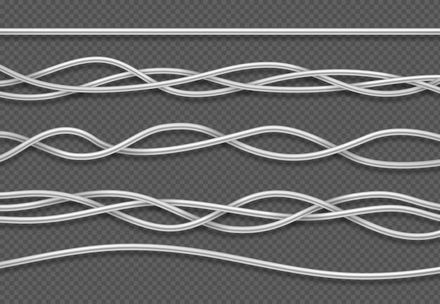 Elektrische kabel. realistische elektrische weiße industriedrähte Premium Vektoren