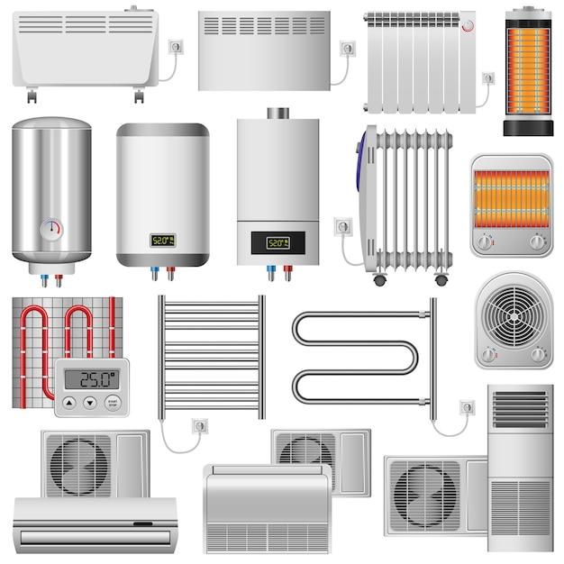 Elektrischer heizkörper-modellsatz Premium Vektoren