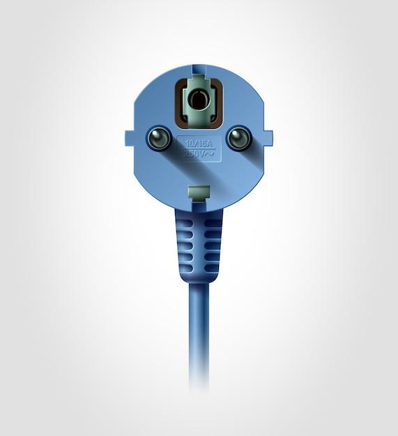 Elektrischer stecker, realistisches objekt Premium Vektoren