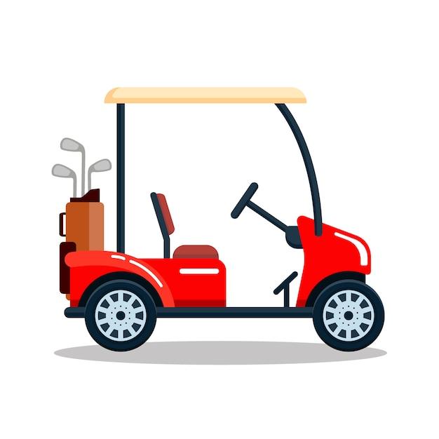 Elektrisches golfauto mit golfschlägertasche. transport, fahrzeug isoliert auf weißem hintergrund Premium Vektoren