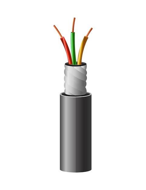 Elektrisches kupferkabel. elektrischen draht. Premium Vektoren