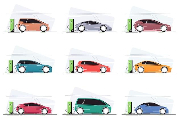 Elektroauto an der fahrzeugladestation Premium Vektoren