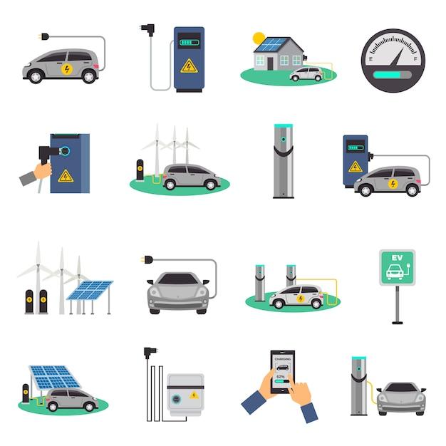 Elektroauto, das flache ikonen auflädt Kostenlosen Vektoren