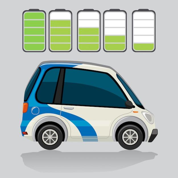 Elektroauto und batteriestand Kostenlosen Vektoren