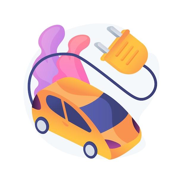 Elektrofahrzeug verwenden abstrakte konzeptillustration. emissionsfreies fahrzeug, städtischer elektromobilservice, modernes elektroauto, industrielle nutzung, umweltfreundlicher transport Kostenlosen Vektoren
