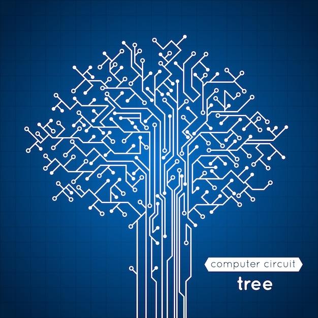 Elektronik-konzeptplakat-vektorillustration des computerschaltungsbrettbaums kreative Kostenlosen Vektoren