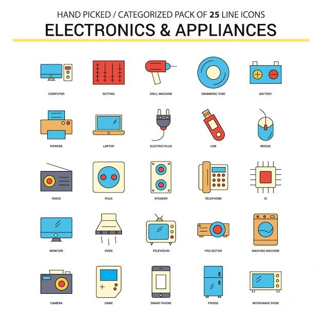 Elektronik und haushaltsgeräte flache linie icon set Kostenlosen Vektoren