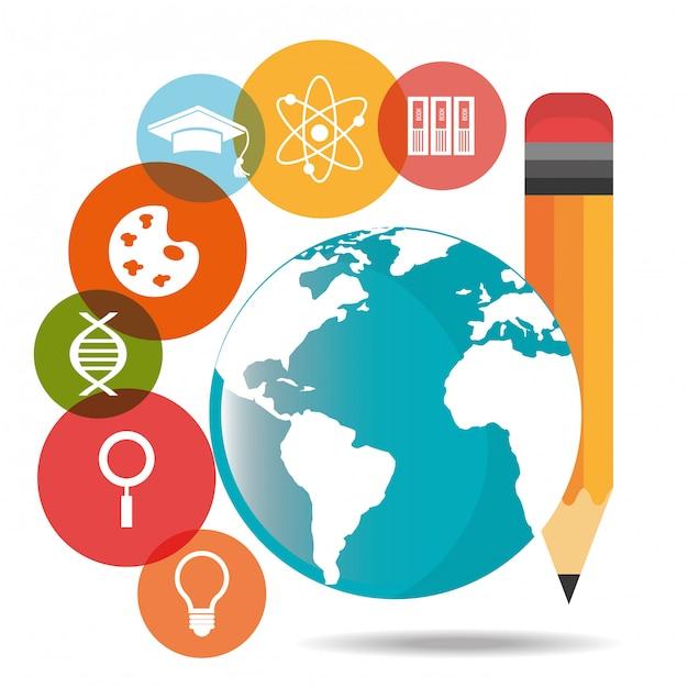 Elektronische bildung oder e-learning Premium Vektoren