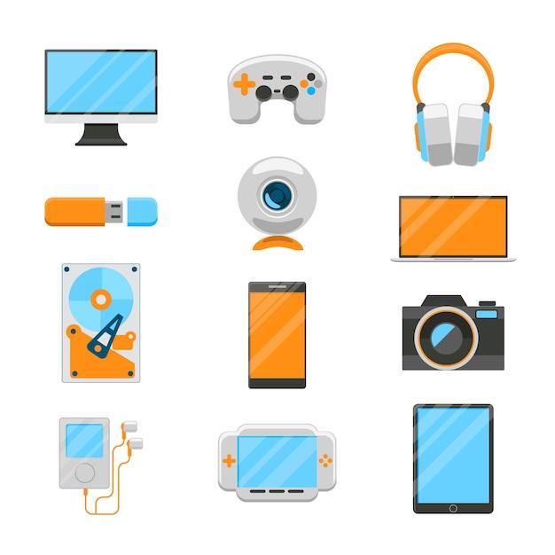 Elektronische geräte eingestellt. usb und festplatte, player und webkamera, joystic und computer. Kostenlosen Vektoren