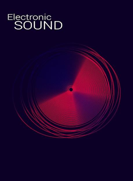Elektronische musik des plakats mit der scheibe. Premium Vektoren