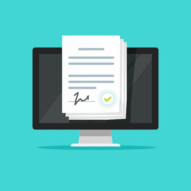 Elektronische online-dokumente oder intelligente verträge mit unterschrift auf dem laptop Premium Vektoren