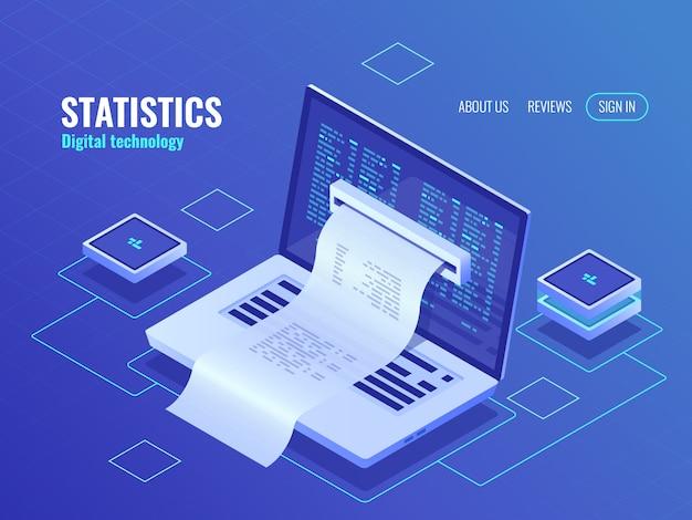 Elektronische rechnung, online-zahlung des systems, finanzberichtkonzept, programmcode Kostenlosen Vektoren