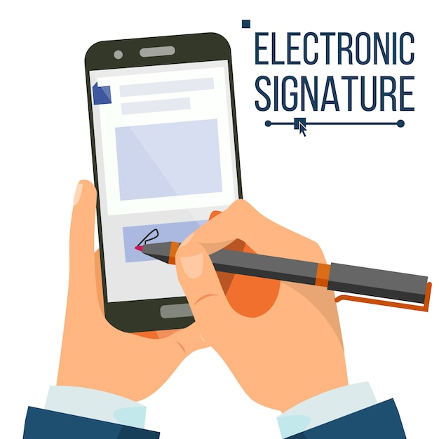 Elektronische unterschrift smartphone Premium Vektoren