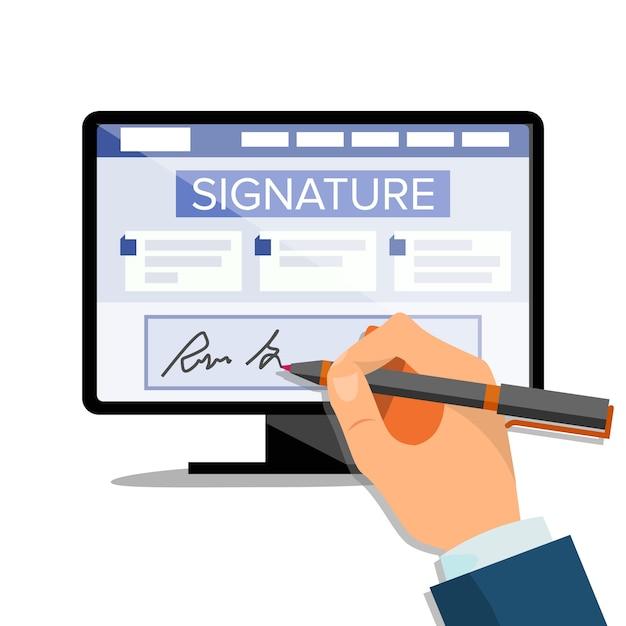 Elektronische unterschrift Premium Vektoren
