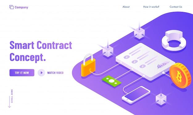 Elektronischer smart contract oder digitales konzept Premium Vektoren