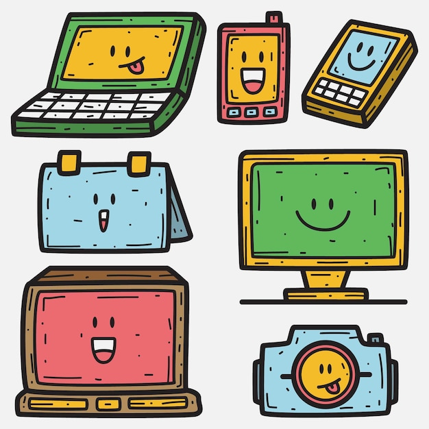 Elektronisches cartoon-doodle Premium Vektoren