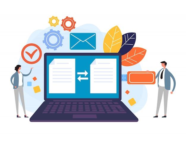 Elektronisches dokument mit digitaler signatur Premium Vektoren