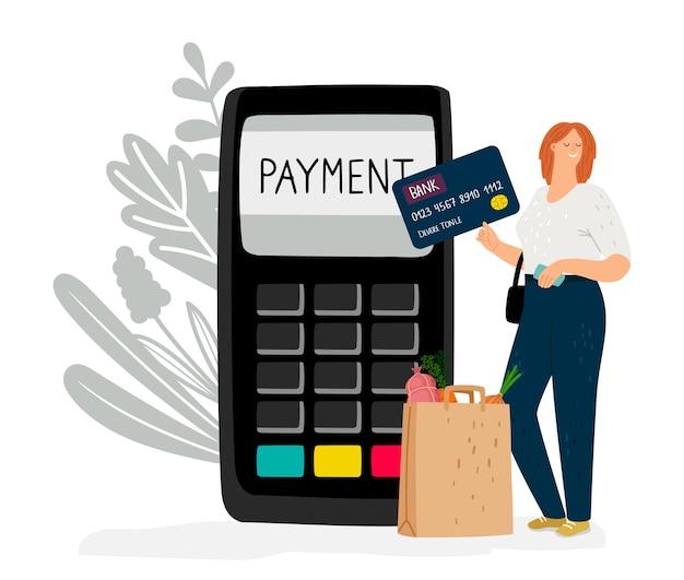 Elektronisches geld. mädchen bezahlt für einkäufe mit kredit- oder debitkarte. online bargeldlose zahlung vektor-illustration Premium Vektoren