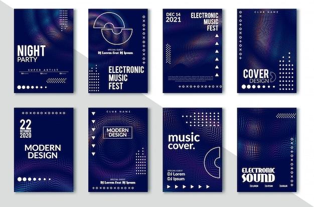 Elektronisches solides party-plakat, abstrakte welle verzerrte linien Premium Vektoren