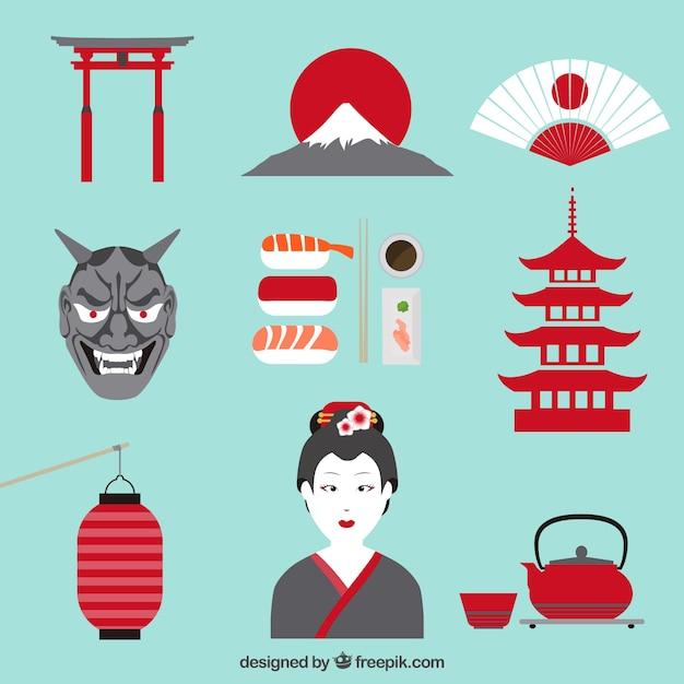Elemente der japanischen kultur Kostenlosen Vektoren